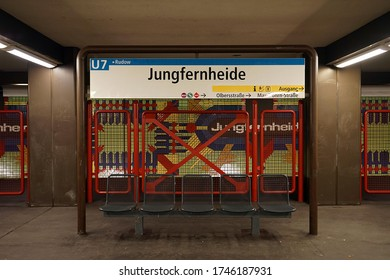 Berlin, Germany_22, January 2019_ U-bahn station Jungfernheide's appearance and people photographed in the winter.