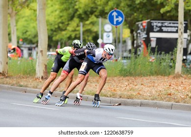 Berlin, Germany/Berlin, September 16, 2018, Larger and smaller groups of inline skaters during the Berlin Marathon on the Hohenzollerndamm.