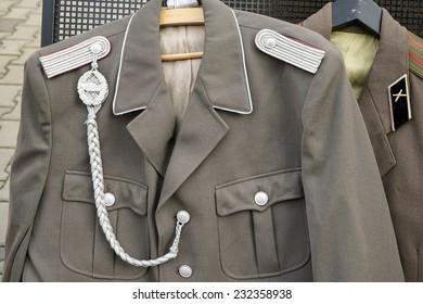 BERLIN, GERMANY/EUROPE - SEPTEMBER 15 : Second World War uniforms for sale at Checkpoint Charlie in Berlin Germany on September 15, 2014