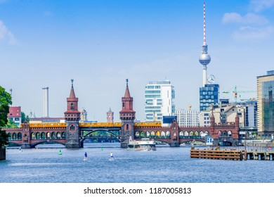 Berlin, Germany-July 20,2018: The Oberbaum Bridge connects Kreuzberg with Friedrichshain and was a border crossing in GDR times