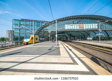 Berlin, Germany-July 21,2018: The main railway station in the city and the largest crossing station in Europe with DB sign on the glass facade