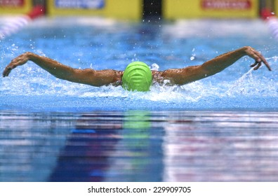BERLIN, GERMANY-JULY 31, 2002:: swimmer competes on a swimming butterfly race during the Swimming European Championship, in Berlin.