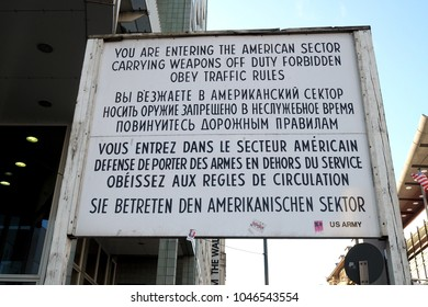 BERLIN, GERMANY-March 01, 2017: The famous sign at the former East-West Berlin border during the Cold War named  Check Point Charlie
