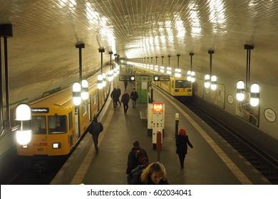 Berlin, Germany-March 01,2017 : Berlin underground and subway Platform (U-Bahn).