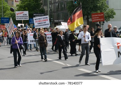 BERLIN, GERMANY-MAY 28: Protesters march against forced psychiatric treatment and the use of deadly psychotropic drugs on May 28, 2011 in Berlin, Germany.