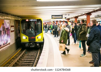 BERLIN, GERMANY-OCT 29, 2016: German people and foreigner travelers passengers are waiting for the metro inside of Berlin Hauptbahnhof Railway in Berlin on Oct 29, 2016. Germany.
