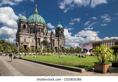 BERLIN, GERMANY-SEP 26, 2018: Berlin Cathedral is the short name for the Evangelical Supreme Parish and Collegiate Church in Berlin, Germany. It is located on Museum Island in the Mitte borough.