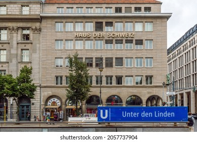 Berlin, Germany-Sep 28, 2021 Haus der Schweiz is a commercial building in the Mitte district of Berlin, built between 1934 and 1936 and in line with the architectural ideas of National Socialism.