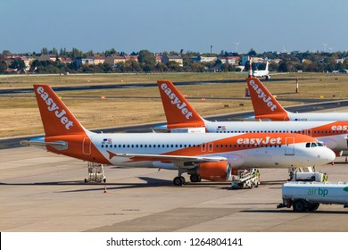 BERLIN, GERMANY-September 7, 2018:  easyJet aircrafts at Tegel airport Berlin.  EasyJet inscriptions on Board.