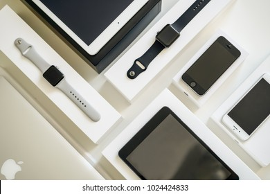 BERLIN, GRRMANY - February 4, 2018., Electronic devices- computer, tablet, iphone and smart watch from company Apple. Iphone, Iwatch, Macbook Air, Ipad. Technology mock up