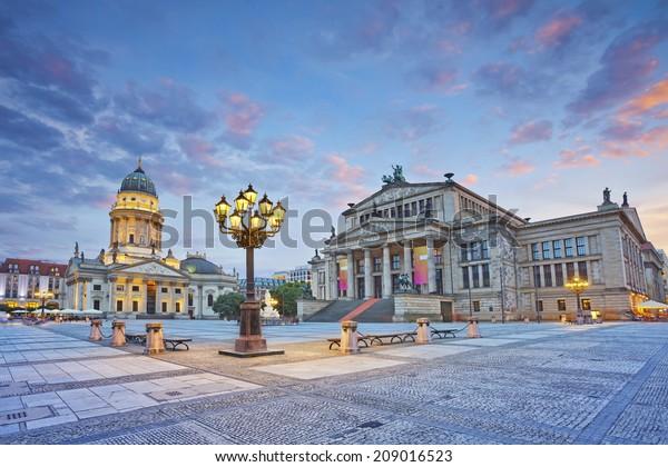 Berlin. Image of Gendarmenmarkt Square during summer sunset.