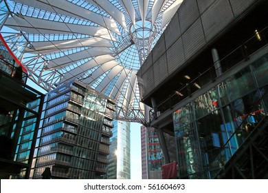 BERLIN - January 06: inside of Sony Center (Potsdamer Platz) on January 06, 2017 in Berlin, Germany. This modern center located in Berlin's downtown ist a touristic sightseeing and business center.