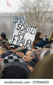 BERLIN - JANUARY 23, 2016: Russian diaspora in Berlin protested against migrants and refugees due to the violence of women and children.
