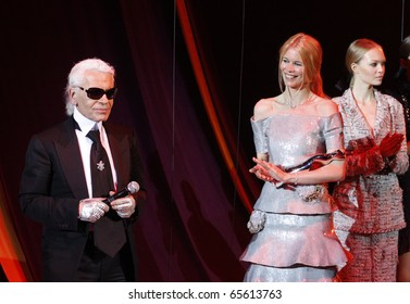 BERLIN - JULY 19: Claudia Schiffer and Karl Lagerfeld attends the Elle Fashion Star 2008 at the Tempodrom. July 19, 2008 in Berlin.