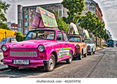 BERLIN - JULY 24, 2016: Berlin trabi world museum close to Checkpoint Charlie. Iconic East German car and at Trabi World you can drive a trabant along the wall sights