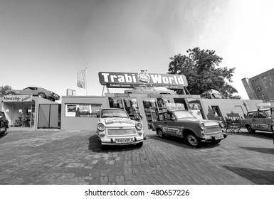BERLIN - JULY 24, 2016: Berlin trabi world museum close to Checkpoint Charlie. Iconic East German car and at Trabi World you can drive a trabant along the wall sights.
