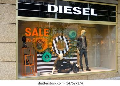 BERLIN - JULY 24: Diesel Store on Kurfuerstendamm. Diesel - Italian design company and brand fashion apparel and accessories denim trend. July 24, 2013, Berlin, Germany