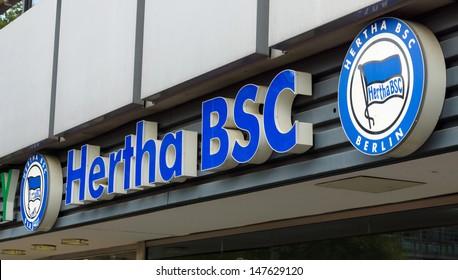 BERLIN - JULY 24: The emblem of Hertha BSC is a German association football club based in Berlin, the Bundesliga player (Football-Federal League) 2013-14 season, July 24, 2013, Berlin, Germany
