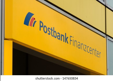 BERLIN - JULY 24: The emblem of Postbank. Postbank - Deutsche Postbank AG is a German retail bank, with revenues of 3.805 Mrd. Euro and 18,599 employees, 24 July 2013, Berlin, Germany