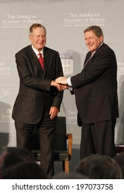 "BERLIN - JULY 3, 2008 - BERLIN: Former US President George Bush sen., Richard Holbrooke after having received the ""Kissinger Prize"" in the American Academy, Berlin-Wannsee."