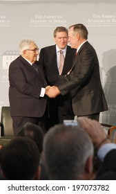 "BERLIN - JULY 3, 2008 - BERLIN: Henry Kissinger, Richard Holbrooke, former US President George Bush sen. at the ""Kissinger Prize"" award ceremony in the American Academy, Berlin-Wannsee."
