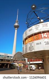 BERLIN - JULY 3, 2018: Berlin's Alexanderplatz, Weltzeituhr (World Time Clock), and TV Tower. Alexanderplatz is the central transportation hub of Berlin.