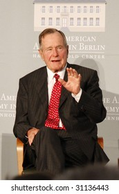 BERLIN - JULY 3 : Former US President George Bush Sr. talks to the audience at the award ceremony of the Henry Kissinger Prize 2008 at the American Academy July 3 2008 in Berlin.