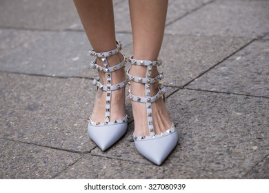 BERLIN - July 8, 2015: Stylish woman wearing pastel blue shoes with rivets. Berlin Fashion Week Spring / Summer 2016