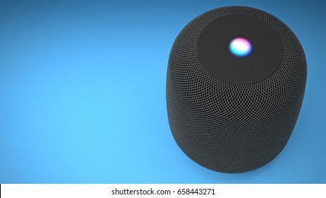 BERLIN - June 01, 2017: Apple Home Pod Assistant Black, Siri Voice Service activated recognition system photographed on blue studio backdrop