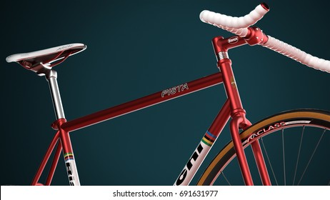 BERLIN - June 01, 2017: Bianchi Bicycle Red on Teal Background, Low Perspective