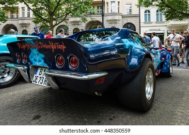 "BERLIN - JUNE 05, 2016: Sports car Chevrolet Corvette Stingray Coupe ""Steppenwolf"", 1973. Rear view. Classic Days Berlin 2016."