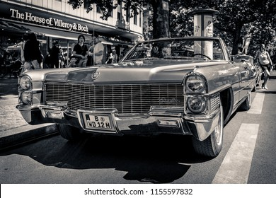 BERLIN - JUNE 09, 2018: Full-size luxury car Cadillac Eldorado convertible (Fifth generation). Black and white. Classic Days Berlin 2018.
