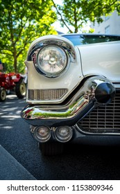 BERLIN - JUNE 09, 2018: Headlamp of a full-size car Chevrolet Bel Air, 1957. Close-up. Classic Days Berlin 2018.
