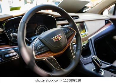 BERLIN - JUNE 09, 2018: Interior of a compact luxury crossover SUV Cadillac XT5, 2018. Classic Days Berlin 2018.