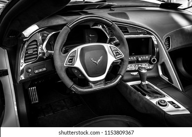 BERLIN - JUNE 09, 2018: Interior of the sports car Chevrolet Corvette Z06 (Seventh generation), 2017. Black and white. Classic Days Berlin 2018.