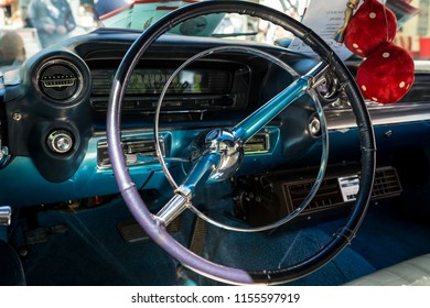 BERLIN - JUNE 09, 2018: Interior of a full-size luxury car Cadillac Sedan DeVille, 1959. Classic Days Berlin 2018.