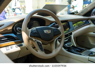BERLIN - JUNE 09, 2018: Interior of a full-size luxury car Cadillac CT6, 2018. Classic Days Berlin 2018.