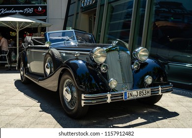 BERLIN - JUNE 09, 2018: Luxury car Horch 853A Cabriolet. Classic Days Berlin 2018.