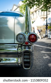 BERLIN - JUNE 09, 2018: Rear stoplights of a full-size car Chevrolet Bel Air, 1957. Close-up. Classic Days Berlin 2018.