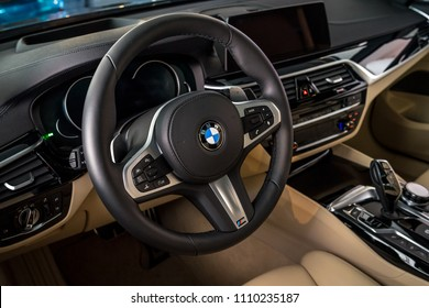 BERLIN - JUNE 09, 2018: Showroom. Interior of a mid-size luxury car BMW 6 Series (G32).