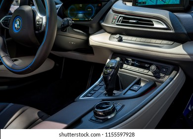 BERLIN - JUNE 09, 2018: Showroom. Interior of a plug-in hybrid sports car BMW i8 Roadster.