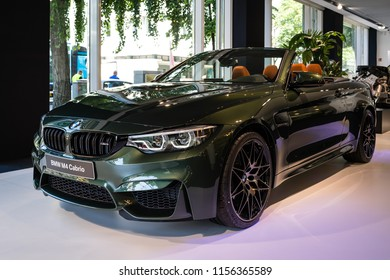 BERLIN - JUNE 09, 2018: Showroom. Compact executive car/Sports car BMW M4 Cabrio.