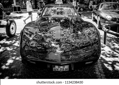 BERLIN - JUNE 09, 2018: Sports car Chevrolet Corvette Stingray Coupe (C3). Black and White. Classic Days Berlin 2018.