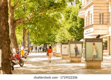 BERLIN - JUNE 11, 2015: Shopping on Kurfurstendamm street in the Charlottenburg district