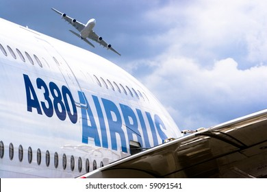 BERLIN - JUNE 11: Airbus A380 exhibition flight at ILA Berlin Air Show on June 11, 2010 in Berlin, Germany