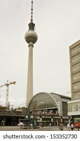BERLIN - JUNE 13: Berlin's TV Tower (Fernsehturm) on June 13, 2013 in Berlin, Germany. Completed in 1969, Berlin TV Tower is the tallest building in Berlin at 368 metres.