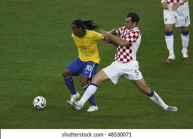 BERLIN - JUNE 13:  Igor Tudor of Croatia (5) defends against Ronaldo of Brazil (10) during a World Cup match June 13, 2006 in Berlin, Germany. Editorial use only.  No pushing to mobile device usage.