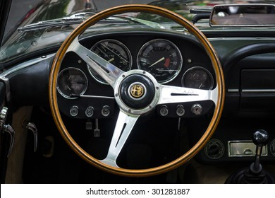 BERLIN - JUNE 14, 2015: Cabin of a luxury car Alfa Romeo 2600 Spider (Tipo 106), 1963. The Classic Days on Kurfuerstendamm.
