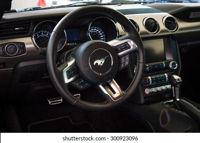 BERLIN - JUNE 14, 2015: The cockpit of a pony car Ford Mustang 50th Anniversary Edition, 2015. The Classic Days on Kurfuerstendamm.