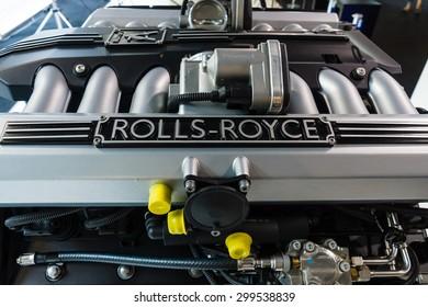 BERLIN - JUNE 14, 2015: Engine V12 DOHC (BMW N73) of the Rolls-Royce. The Classic Days on Kurfuerstendamm.